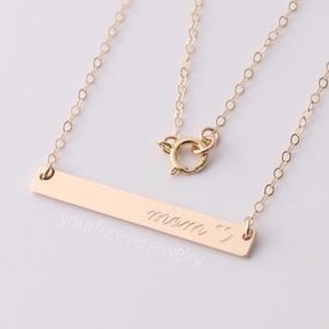 Jewelry - 14k Gold Filled mom ♡ Engraved Bar Necklace